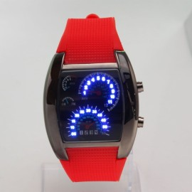 Fashionable Blue LED Light Steel Case Aviation Speedometer Analog Wrist Watch Red