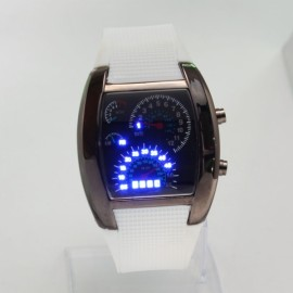 Popular Blue LED Light Steel Case Aviation Speedometer Analog Wrist Watch White