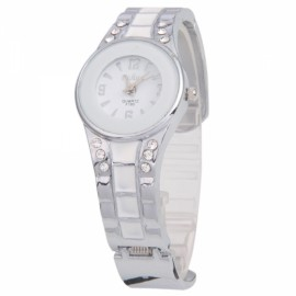 Women's Beautiful Decorative Half-Open Analog Quartz Wrist Watch White