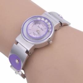 Women's Unique Decorative Round Dial Analog Quartz Wrist Watch Purple