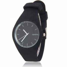 Men Women GENEVA Round Dial Alloy Case Silicone Band Sport Quartz Wrist Watch Black