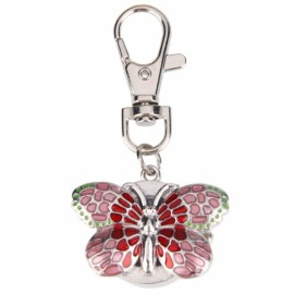 Butterfly Shaped Women Ladies Round Dial Digital Quartz Pocket Key Ring Watch Pink