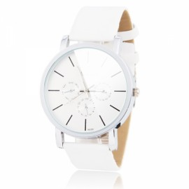 Men WOMAGE Large Size Round Silver Background Leather Band Quartz Multi-Movement Wrist Watch White