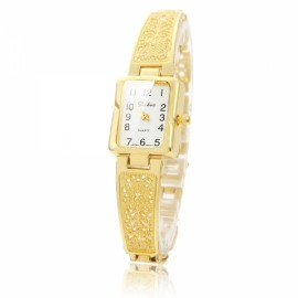 Fashionable Arabic Numeral Time Scale Female Pierced Chain Strap Wrist Watch Gold