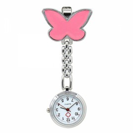 Cute Butterfly Pendant Nurse Clip-On Brooch Quartz Women Pocket Watch Pink