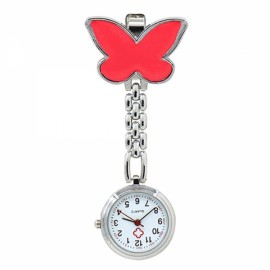 Cute Butterfly Pendant Nurse Clip-On Brooch Quartz Women Pocket Watch Red