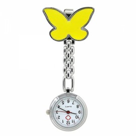 Cute Butterfly Pendant Nurse Clip-On Brooch Quartz Women Pocket Watch Yellow