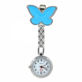 Cute Butterfly Pendant Nurse Clip-On Brooch Quartz Women Pocket Watch Blue