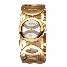 Weiqin 2487 Hollow Bracelet Strap Rhinestoned Hour-Marker Quartz Women Wrist Watch Golden & White