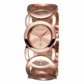 Weiqin 2487 Hollow Bracelet Strap Rhinestoned Hour-Marker Quartz Women Wrist Watch Rose Gold