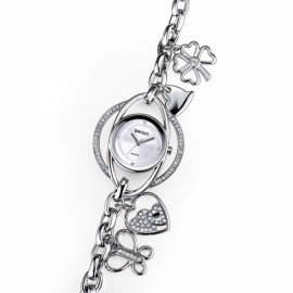 Weiqin 3777 Rhinestone Butterfly Love Heart Clover Round Dial Quartz Women Bracelet Wrist Watch Silver & White