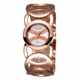 Weiqin 2487 Hollow Bracelet Strap Rhinestoned Hour-Marker Quartz Women Wrist Watch Rose Gold & White