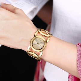 Weiqin 2487 Hollow Bracelet Strap Rhinestoned Hour-Marker Quartz Women Wrist Watch Golden