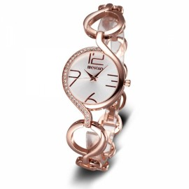 Weiqin 2062 Rhinestone Round Dial Hollow Bracelet Strap Women Wrist Watch Rose Gold & White