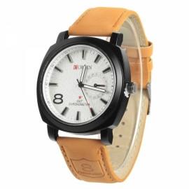 Men's New Fashion Alloy Case Leather Strap Military Sport Quartz Wrist Watch Brown & White