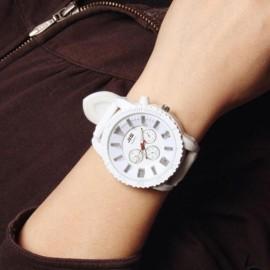 Chic Harajuku Style Flash Light Big Round Dial Luminous Quartz Wrist Watch White