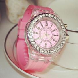 Rhinestones Bezel Colorful Flash Light Jelly Luminous Quartz Wrist Watch Pink