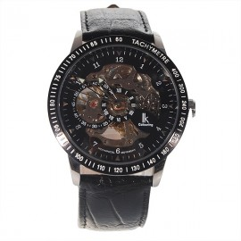 98080G Automatic Self-Winding Analog Mechanical Men Wrist Watch Leather Band Black