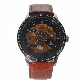 98080G Automatic Self-Winding Analog Mechanical Men Wrist Watch Leather Band Black & Brown