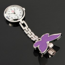 Cute Butterfly Pendant Nurse Clip-On Brooch Quartz Women Pocket Watch Purple