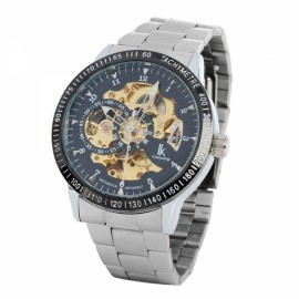 Automatic Self-Winding Analog Mechanical Men Wrist Watch Steel Band Black & Silver & Golden