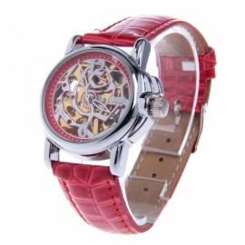 CJIABA LA2012-R Rose Pattern Artificial Leather Band Skeleton Analog Mechanical Women Wrist Watch Red