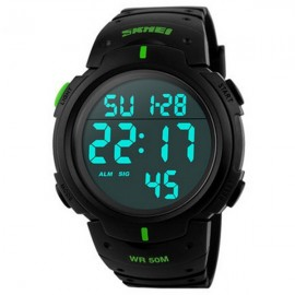 SKMEI 1068 Unisex LED Digital Alarm Waterproof Military Sports Watch Green Display
