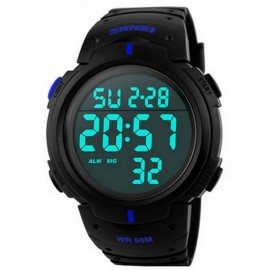 SKMEI 1068 Unisex LED Digital Alarm Waterproof Military Sports Watch Blue Display