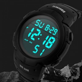 SKMEI 1068 Unisex LED Digital Alarm Waterproof Military Sports Watch Black