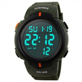 SKMEI 1068 Unisex LED Digital Alarm Waterproof Military Sports Watch Army Green
