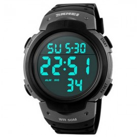 SKMEI 1068 Unisex LED Digital Alarm Waterproof Military Sports Watch Titanium