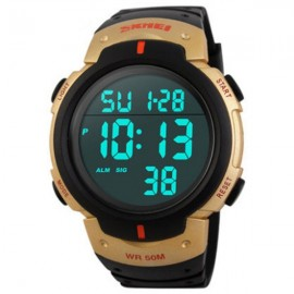 SKMEI 1068 Unisex LED Digital Alarm Waterproof Military Sports Watch Golden
