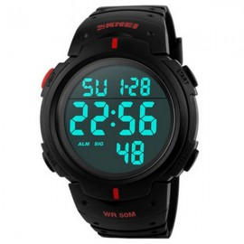 SKMEI 1068 Unisex LED Digital Alarm Waterproof Military Sports Watch Red Display