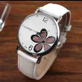 YAZOLE 338 Woman Korean Style Fashion Popular OL Style Flower Hardcover Quartz White Dial & Purple Flower & White Band