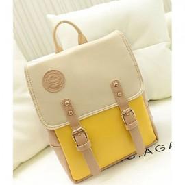 Korean Style Contrast Color PU Backpack School Bag Beige & Yellow