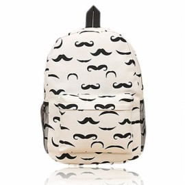 Distinctive Printing Beard Pattern Double-shoulder Canvas Backpack Bag Black & White