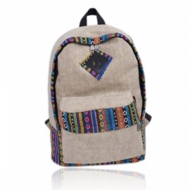 Unique Ethnic Style Color Jointing Stripe Pattern Canvas Backpack Khaki