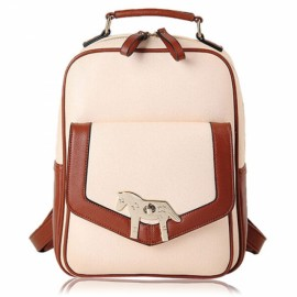 Korean Style Pony Spin Lock Contrast Color PU Leather Unisex Backpack White