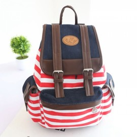 Korean Style Unisex Classic Stripes Pattern Canvas Backpack Red