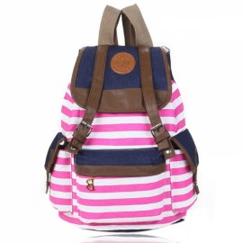 Korean Style Unisex Classic Stripes Pattern Canvas Backpack Rose Red