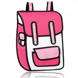 Korean Style Hot Selling 2D Cartoon-like Chic Unisex Backpack Rose Red