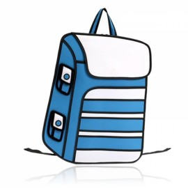 Creative 2D Design Cartoon-like Pattern Chic Casual Unisex Backpack Blue & White