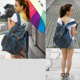 Double-shoulder Travel Canvas Backpack Sports Rucksack School Satchel Laptop Hiking Bag Denim
