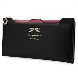 Women Bowknot Solid Color Hasp Zipper Horizontal Long Wallet Black