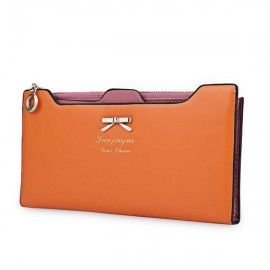 Women Bowknot Solid Color Hasp Zipper Horizontal Long Wallet Orange