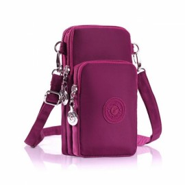 Three Layers Zipper Closure Waterproof Adjustable Strap Shoulder Bag Wrist Bag Amaranth