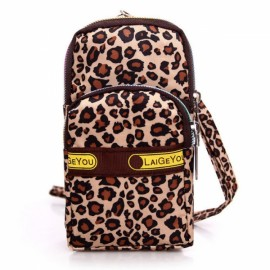 Mini Fashion Pattern Zipper Sport Shoulder Bag Wrist Bag Leopard