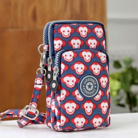 Multifunctional Three Layers Storage Bag Phone Bag Handbag Wrist Bag Cute Monkey