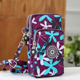 Multifunctional Three Layers Storage Bag Phone Bag Handbag Wrist Bag Wind Leaf