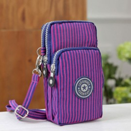 Multifunctional Three Layers Storage Bag Phone Bag Handbag Wrist Bag Purple Vertical Stripes
